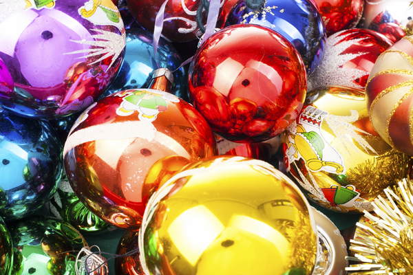 Colourful Christmas tree baubles