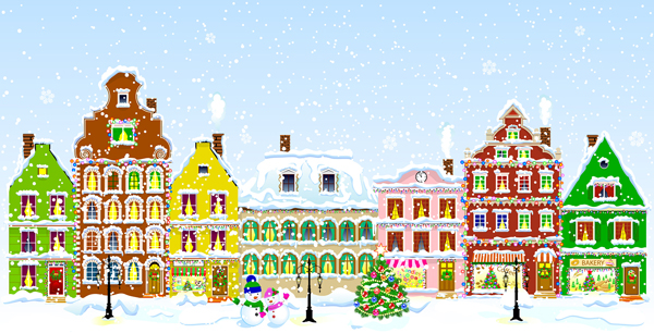 Drawing of houses in a Christmas scene