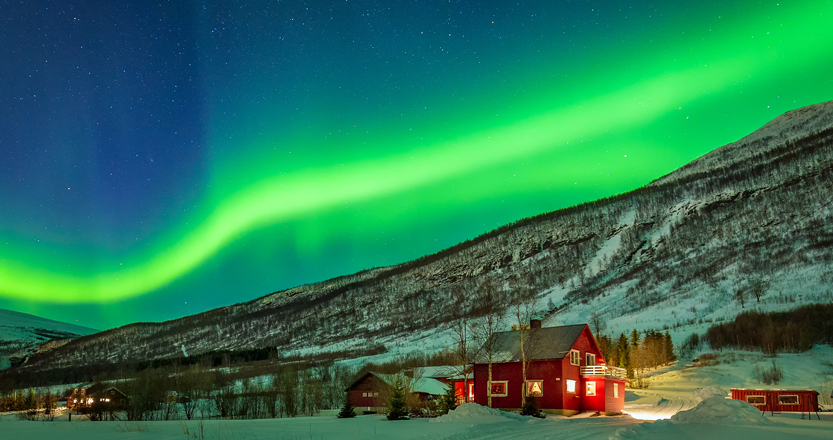 Green Northern Lights over a snowy scene in northern Norway