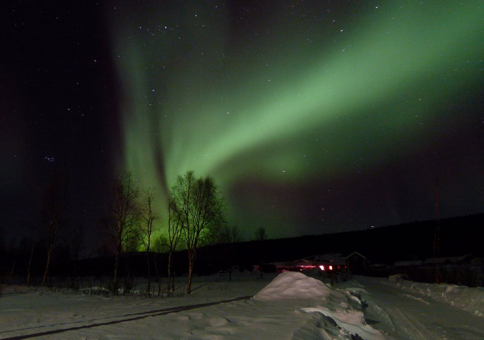 Northern Lights at wheelchair-friendly holiday accommodation in Lapland