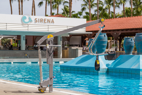 Swimming pool hoist at a hotel in Polis, Cyprus
