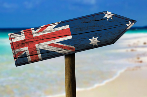 Sign with the Australian flag
