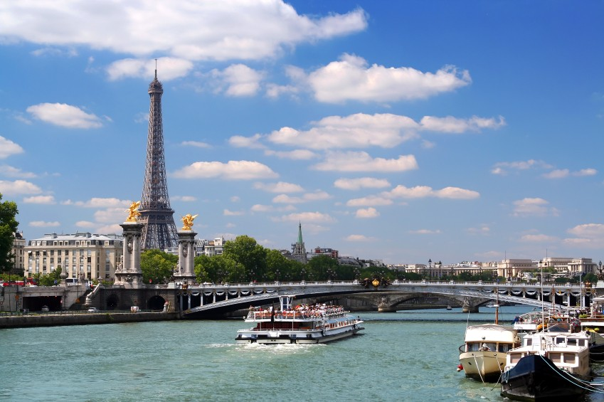 Eiffel tower and the Seine, Paris